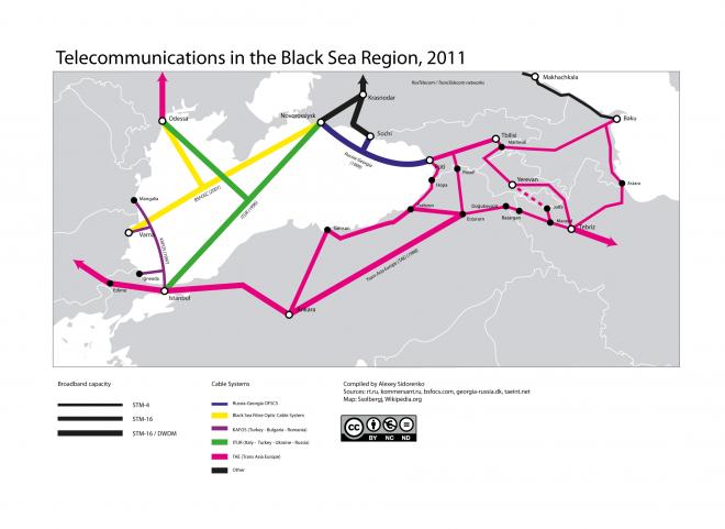 Карта телекоммуникаций Южного Кавказа  / South Caucasus Telecommunications Map